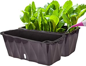 Pearlead 2pcs Self Watering Planter Pots Window Flower Box 19.7 Inch Plastic Rectangle Windowsill Herb Planter Box with Visual Water Level Window for Indoor Outdoor Plants Succulent Black