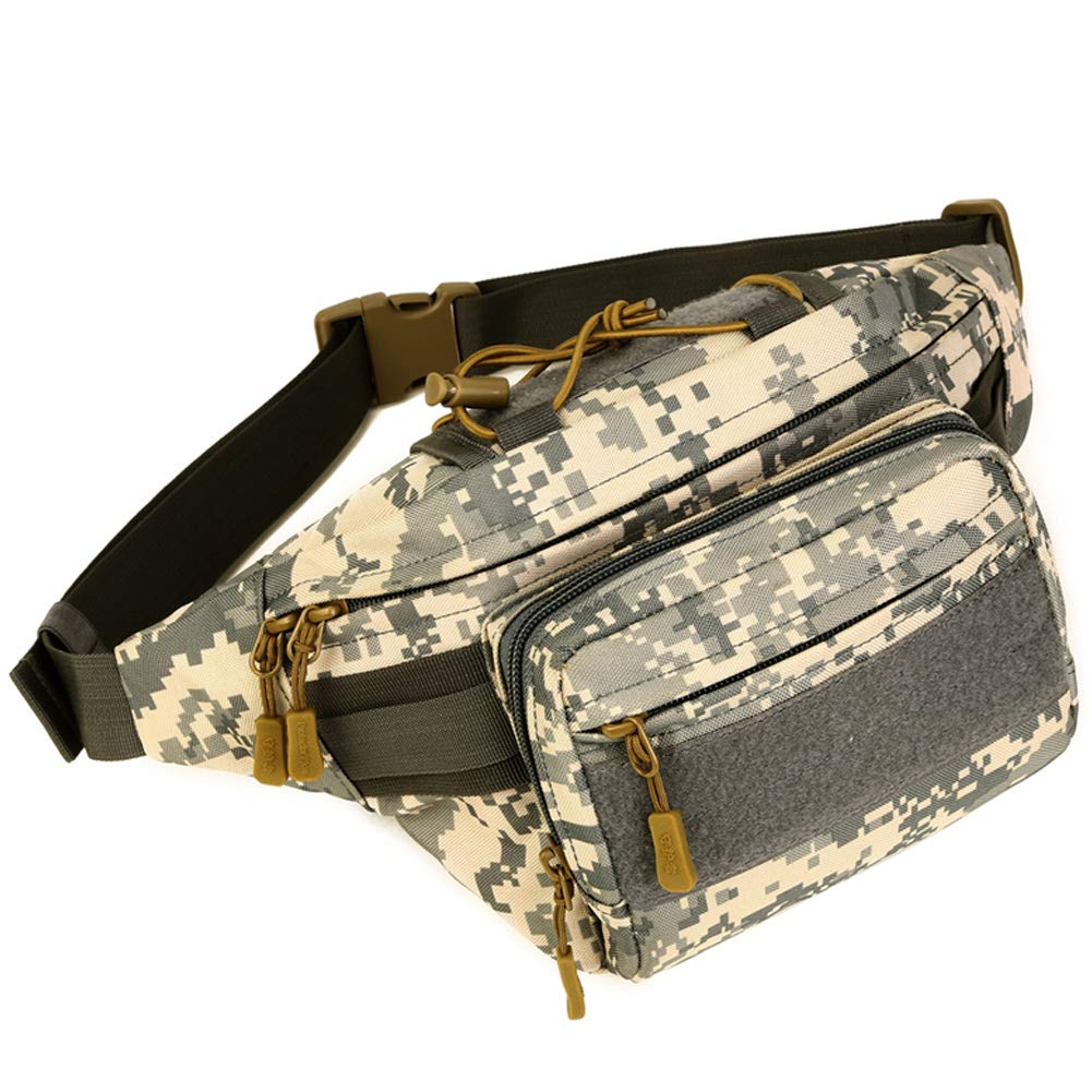 DYJ Tactical Waist Bag Pack, Military Fanny Pack with Adjustable Strap Water-Resistant Hip Bumbag for Outdoors Workout Traveling Casual Hiking Climbing Cycling(ACU-2)