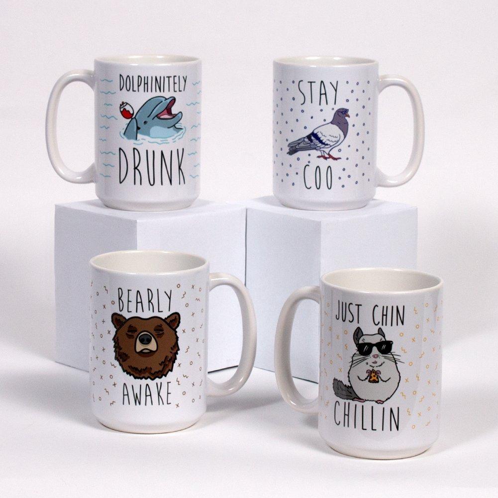 "LookHUMAN ""Animal Puns"" Mug Set - Funny Animal Pun Humor Theme, 4 Ceramic Mugs, 15 Ounces"