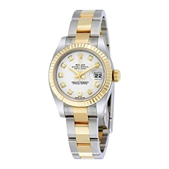 98f75ff8584 Image Unavailable. Image not available for. Color: Rolex Lady Datejust 26 White  Dial Stainless Steel and 18K Yellow Gold Rolex Oyster Automatic Watch