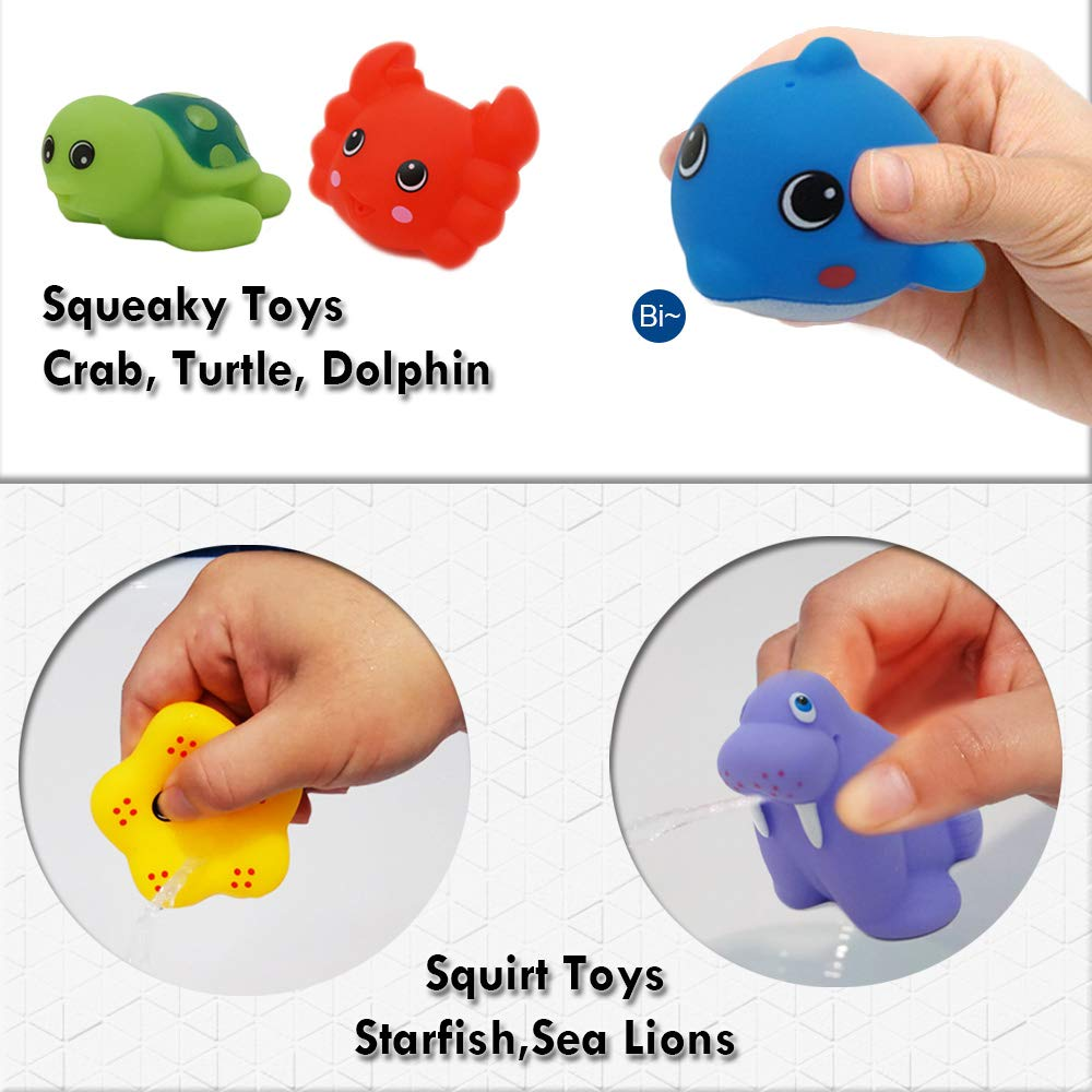 Elephant Watering Can Squirt and Squeaky Toys Kids Toddlers Early Educational Toy for Bathtub Sea Animal Stacking Cups YBB 14 PCS Baby Bath Toy Set Beach and Swimming Pool