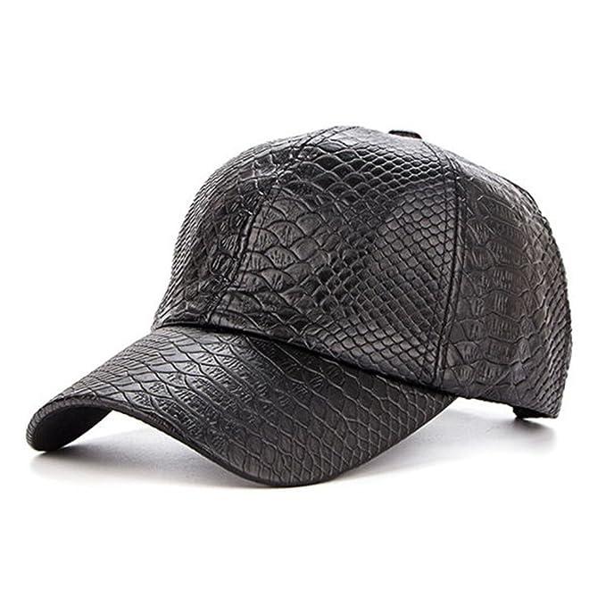 f5e394b035bd6 HSRT Men Retro Crocodile Grain PU Leather Baseball Cap Casual Outdoor  Adjustable Golf CapBlack