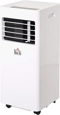 HOMCOM Aire Acondicionado Portátil con Ruedas Temporizador LED 3 en 1 Enfriador Humidificador y Ventilador con Mando Potencia 765W 30.5x32.8x67.8 cm Blanco: Amazon.es: Hogar