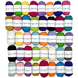 Miragoodsbasics Basic 40 Assorted Colors Acrylic Yarn Skeins with 3 E-Books