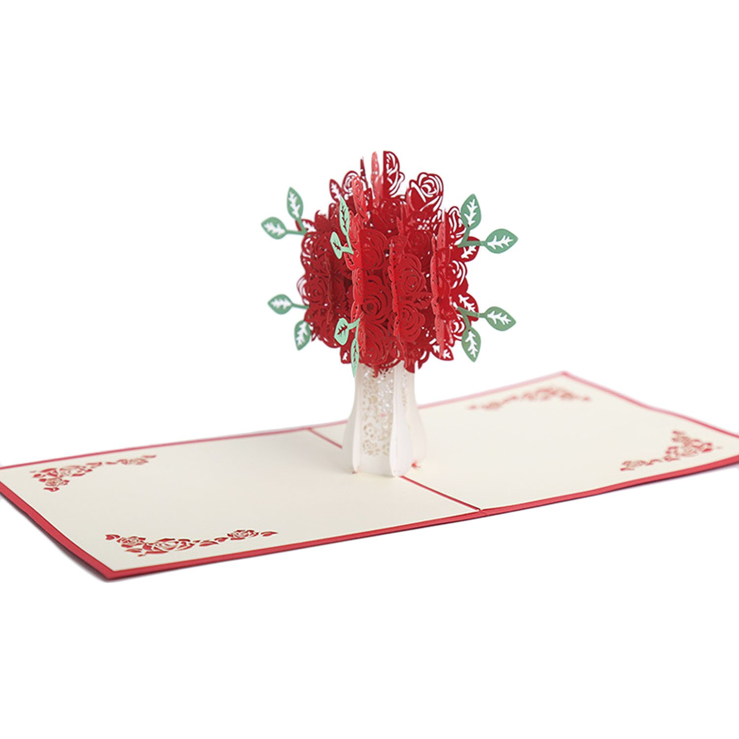 Beetest® -3D Paper Cut Red Rose Bouquet Pop Up Greeting Thanksgiving ...