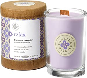 Root Candles Seeking Balance Small Spa Candle, 6.5-Ounce, Relax: Geranium Lavender