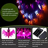YUNLIGHTS Halloween String Lights, Set of 3 Strings with 30 LED Lights Each - White Ghosts, Orange Jack O'Lanterns, Purple Bats