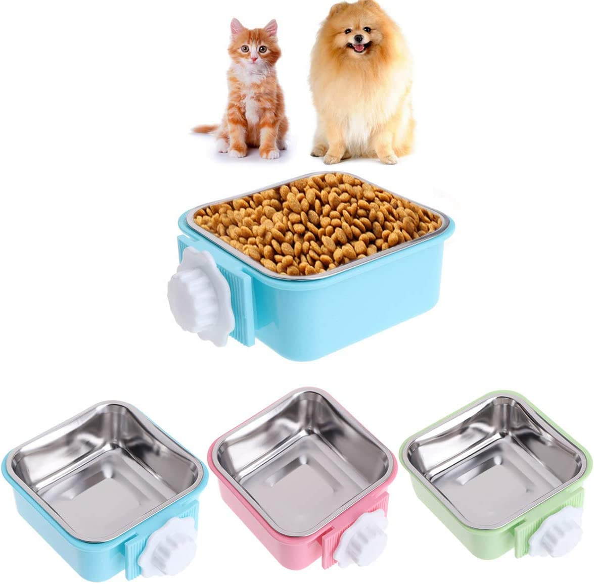 Luck Dawn Cat Crate Bowl, Stainless Steel Removable Cage Hanging Bowls with Bolt Holder for Dog Puppy