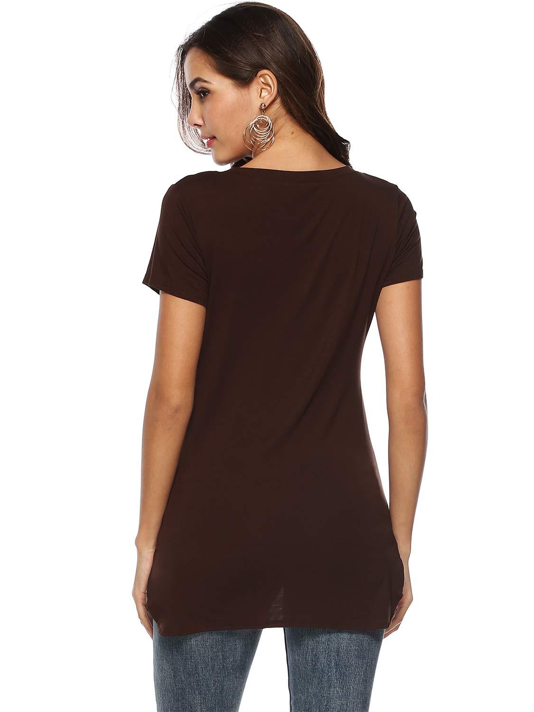 Florboom kvinnors bomullsöverdelar vardaglig scoop Neck t-shirt blus C-brun