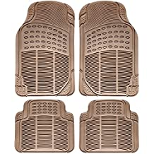 OxGord Universal Fit Front/Rear 4-Piece Full Set Ridged Heavy Duty Rubber Floor Mat - (Beige)