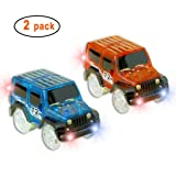 Car TrackMIGE Light Up Toy Car(2-Pack) Glow in the Dark Racing Track Accessories Compatible with Most TracksBoys and Girls(Blue and Red)