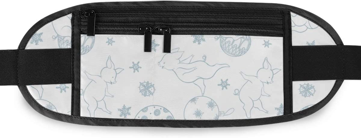 Travel Waist Pack,travel Pocket With Adjustable Belt Festive Christmas Pattern Pigs Playing Christmas Running Lumbar Pack For Travel Outdoor Sports