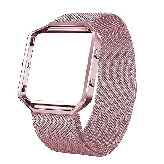 Fitbit Blaze Correa de Recambio con Marco & Magnet Lock , haodene Acero inoxydabl Milanais Mesh Banda Pulsera para Smart Fitness Reloj para Mujer y Hombre, ...