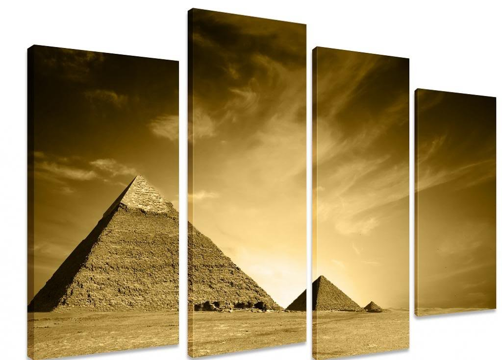 PICTURE - Multi Split Panel Canvas Artwork Art - Three Pyramids ...