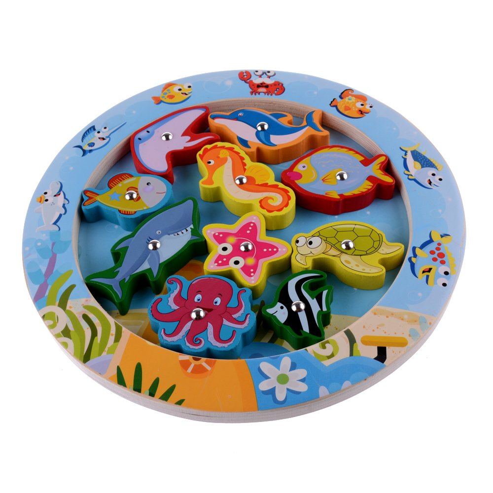 10 de baño Peces educativos de madera magnética juego de pesca, juguetes del regalo de cumpleaños para los 3 4 5 años que los niños del cabrito del niño ...