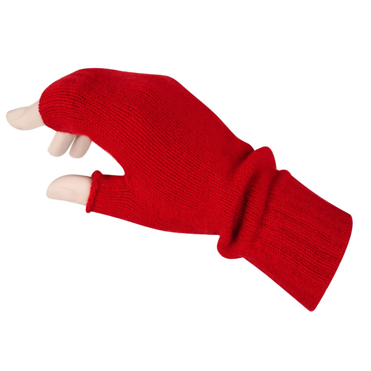 Women's Fingerless Mitts Pure Cashmere Made in Scotland (Cardinal Red)