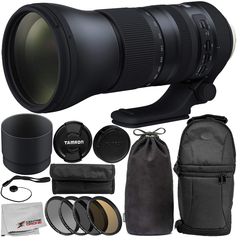 Tamron SP 150-600mm f/5-6.3 Di VC USD G2 for Canon EF 11PC Accessory Bundle - Includes 4PC Warming Filter Kit + Backpack + MORE Centre Drone