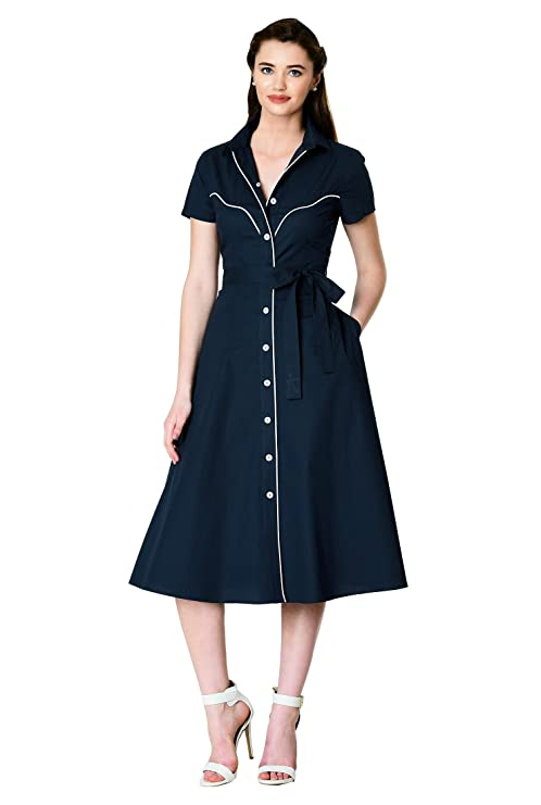1940s Dresses | 40s Dress, Swing Dress eShakti Womens Contrast Trim poplin sash tie Shirtdress $59.95 AT vintagedancer.com