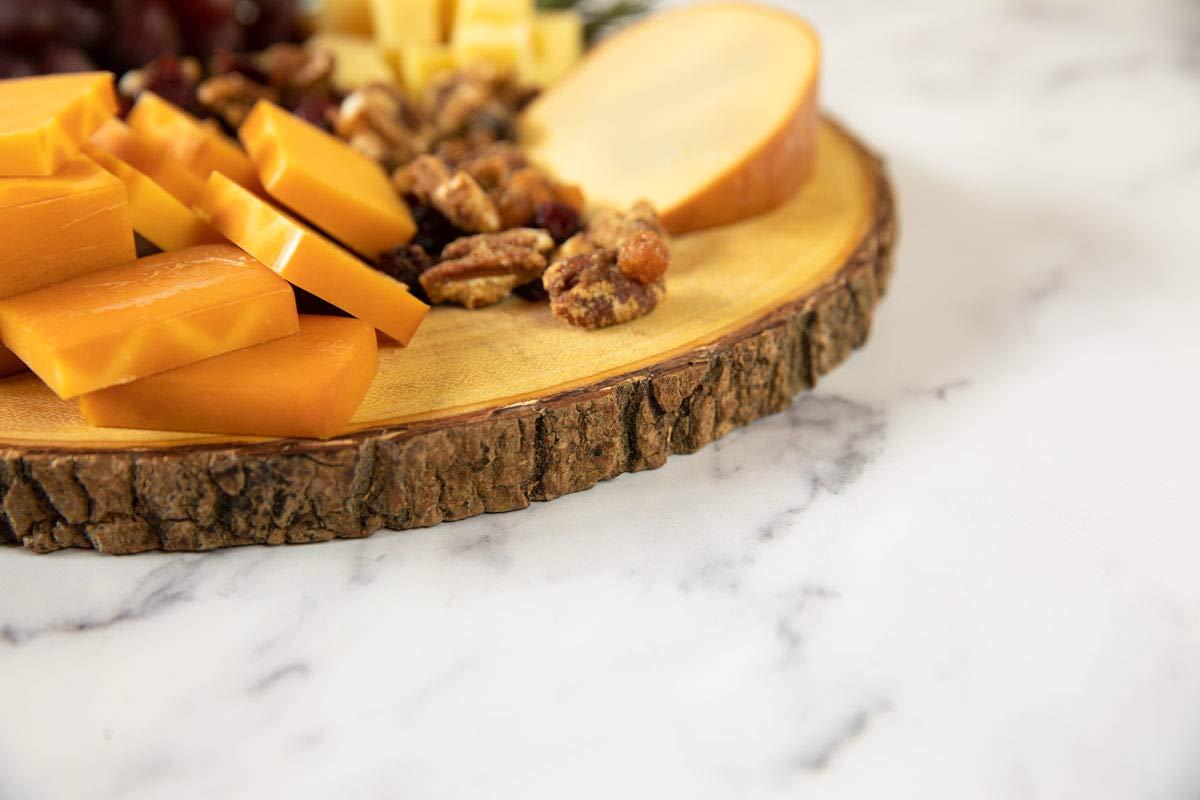 Villa Acacia Live Edge Wood Serving Platter 12'' - Natural and Organic Raw Bark Edge (Single, Large) by Thirteen Chefs (Image #3)