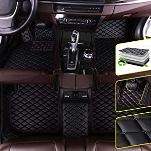 Custom Car Floor Mats for Dodge RAM 1500 2003-2010 Waterproof Non-Slip Leather Carpets Automotive Interior Accessories 1 Set Black