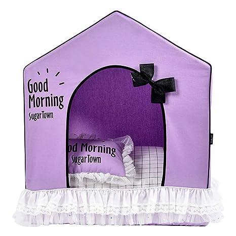 Febelle Caseta para Mascotas Perros Gatos pequeños casa Carpa Interior Perrera Higiénica Cama Protector de frío y luz de Sol con cojín Almohada (6#)