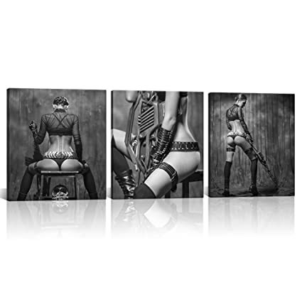 Klvos Nude Canvas Prints Sexy Women Bedroom Wall Decoration Canvas Art Black And White Picture Canvas Prints Painting With Frame For Bathroom