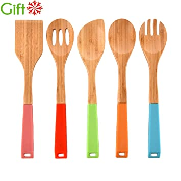 Merveilleux VCCUCINE Modern Silicone Handles Kitchen Bamboo Spoons Cooking Utensils, 5  Set Of Bamboo Spatula Kitchen