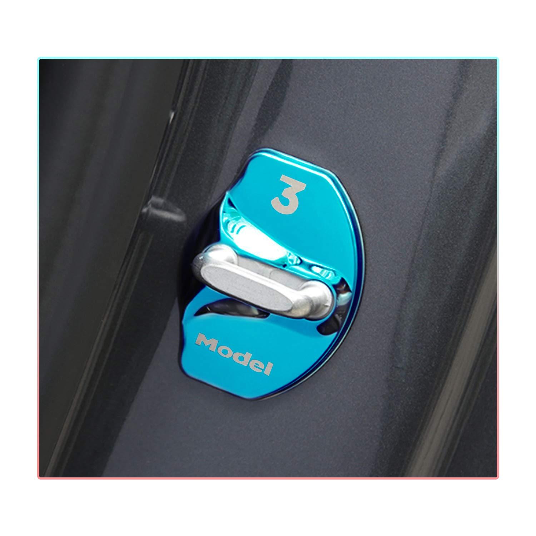 Noir CDEFG Couvercle de Verrou pour Porte de Voiture pour Model 3 2018 2019 Acier Inoxydable Boucle de Verrouillage de Porte de Voiture Couvercle d/écoratif 4 PCS