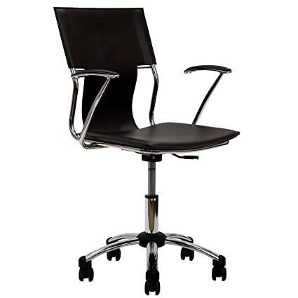 modway studio faux leather swivel task office chair in brown