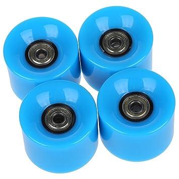Ruedas de monopatin - SODIAL(R)Conjunto de 4 Ruedas de monopatin 6 cm de diametro y 4,5 cm de ancho para Penny azul: Amazon.es: Deportes y aire libre