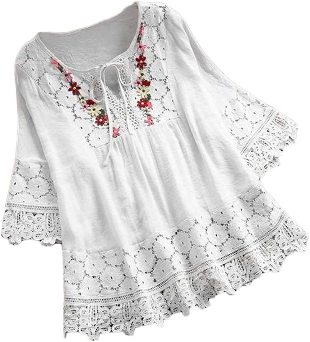 UUYUK Women Loose Lace Stitching V Neck 3//4 Sleeve Solid Color Shirt Blouse Top