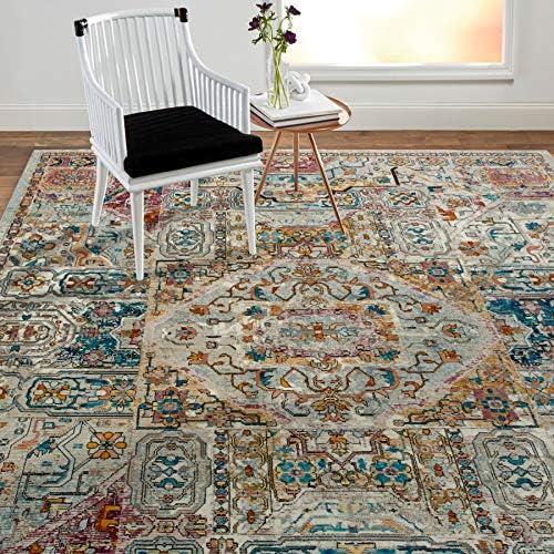 Home Dynamix Nicole Miller Parlin Dahlia Area Rug 9 2 x12 5 , Modern Medallion Ivory Blue