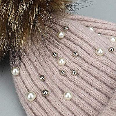 Wool Beanies Women Real Natural Fur Pearl Knitted Hat Female Beanie Cap Pom Pom Winter Hats Women