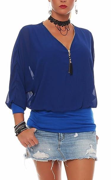 Malito Blusa con Ziper 3/4 Túnica Parte Superior Top Obersized Zipper 6297 Mujer Talla