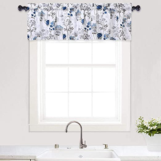 Amazon Com Haperlare Floral Print Valances For Windows Watercolor Flowers Design Valance Curtains For Kitchen Cafe Curtains Bathroom Window Curtains 54 X 15 Blue Grey One Panel Home Kitchen
