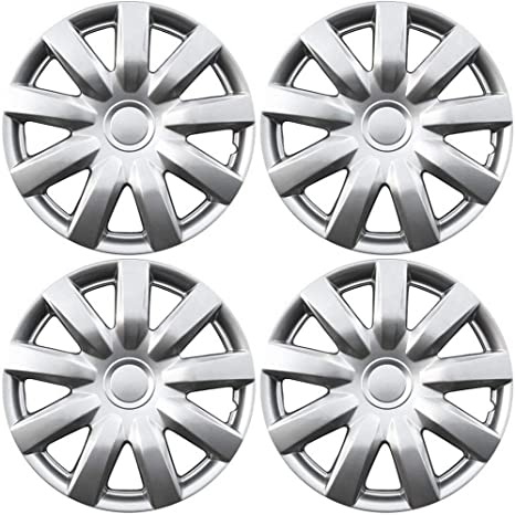 15 inch Hubcaps Best for 2004-2006 Toyota Camry - (Set of 4) Wheel Covers 15in Hub Caps Silver Rim Cover - Car Accessories for 15 inch Wheels - Snap ...