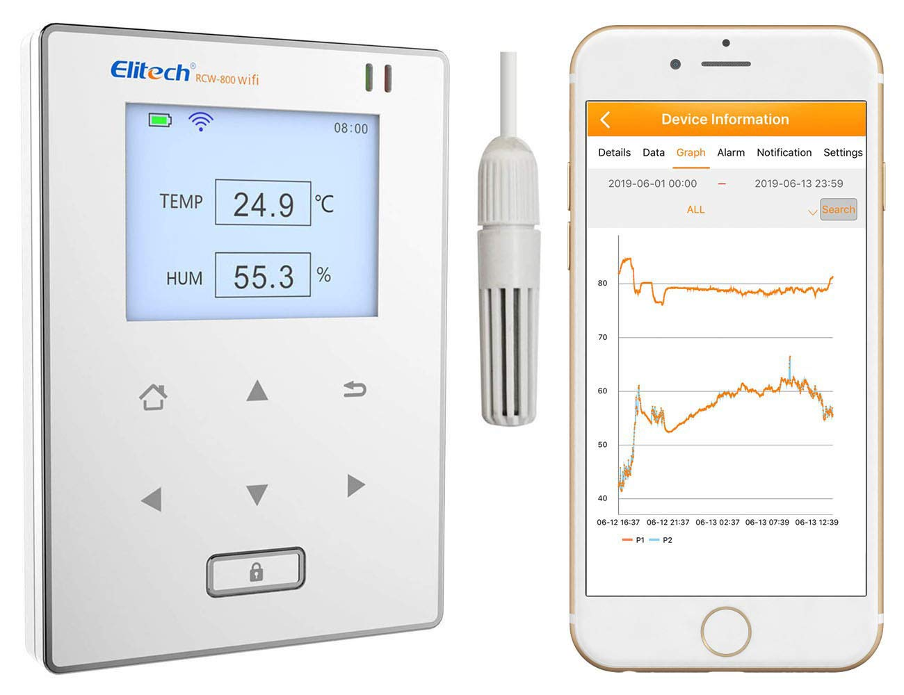 Elitech RCW-800 wifi Temperature and Humidity Data Logger Wirelesss Remote Monitor. Free 24/7 Monitoring, Alerts & Historical Data. Free iPhone/Android Apps, Monitor from Anywhere, Anytime! by Elitech
