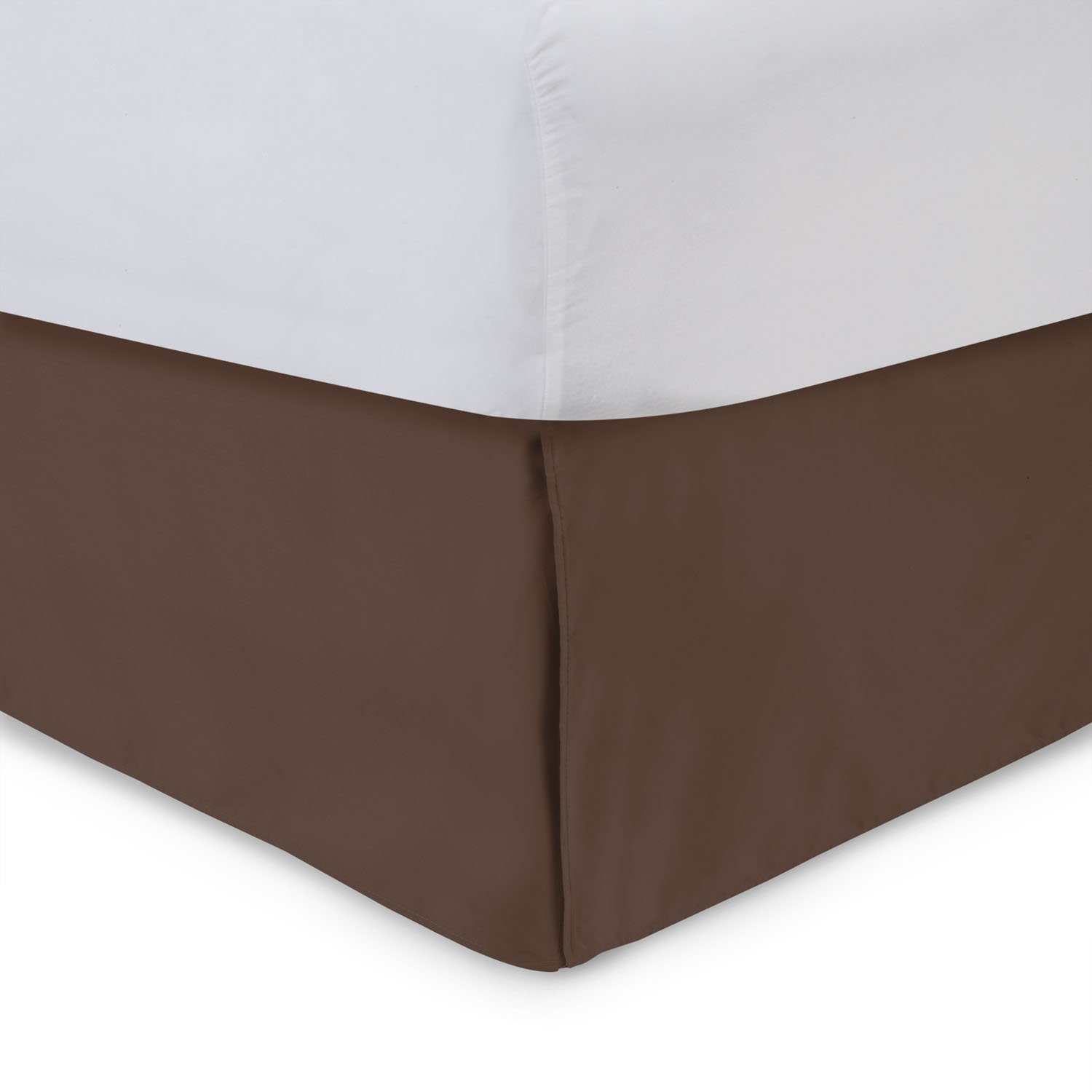 Harmony Lane Tailored Bedskirt - 14 inch Drop, Brown, Queen Bed Skirts with Split Corners (Available in and 16 Colors)