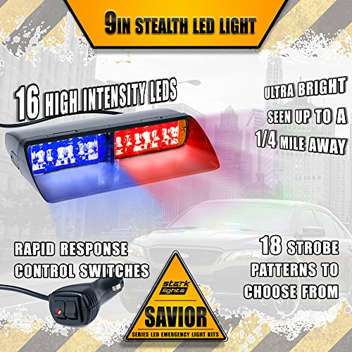 16 LED Emergency Dash Light Dual Rapid Switch Windshield Warning Hazard Safety 17 Flashing Strobe Modes Car Truck Vehicle Law Enforcement Police - Red/Blue
