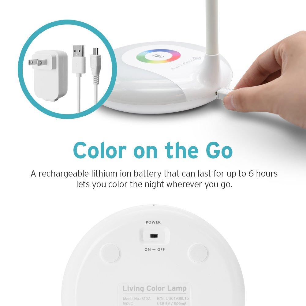 Etekcity LED Desk Lamp with Flexible Gooseneck Adjustable Brightness Level Night Light, 1000mAh Rechargeable Eye-caring Colorful Table Light with USB Port Touch Control (256 Base Color) by Etekcity (Image #3)