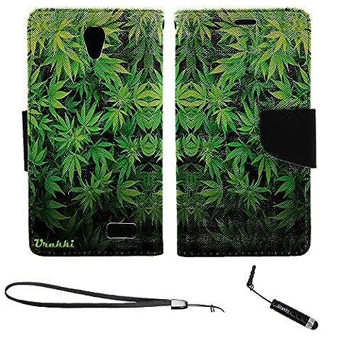 ZTE ZFive 2 Wallet Case, Stylish Premium PU Leather Flip Pouch Wallet Folio Case by URAKKI for ZTE Z Five 2 ZFIVE 2 (2017) , ZTE Avid Trio , ZTE Cheers (2016) [Weed Pattern] (Weed Zte Phone Cases)