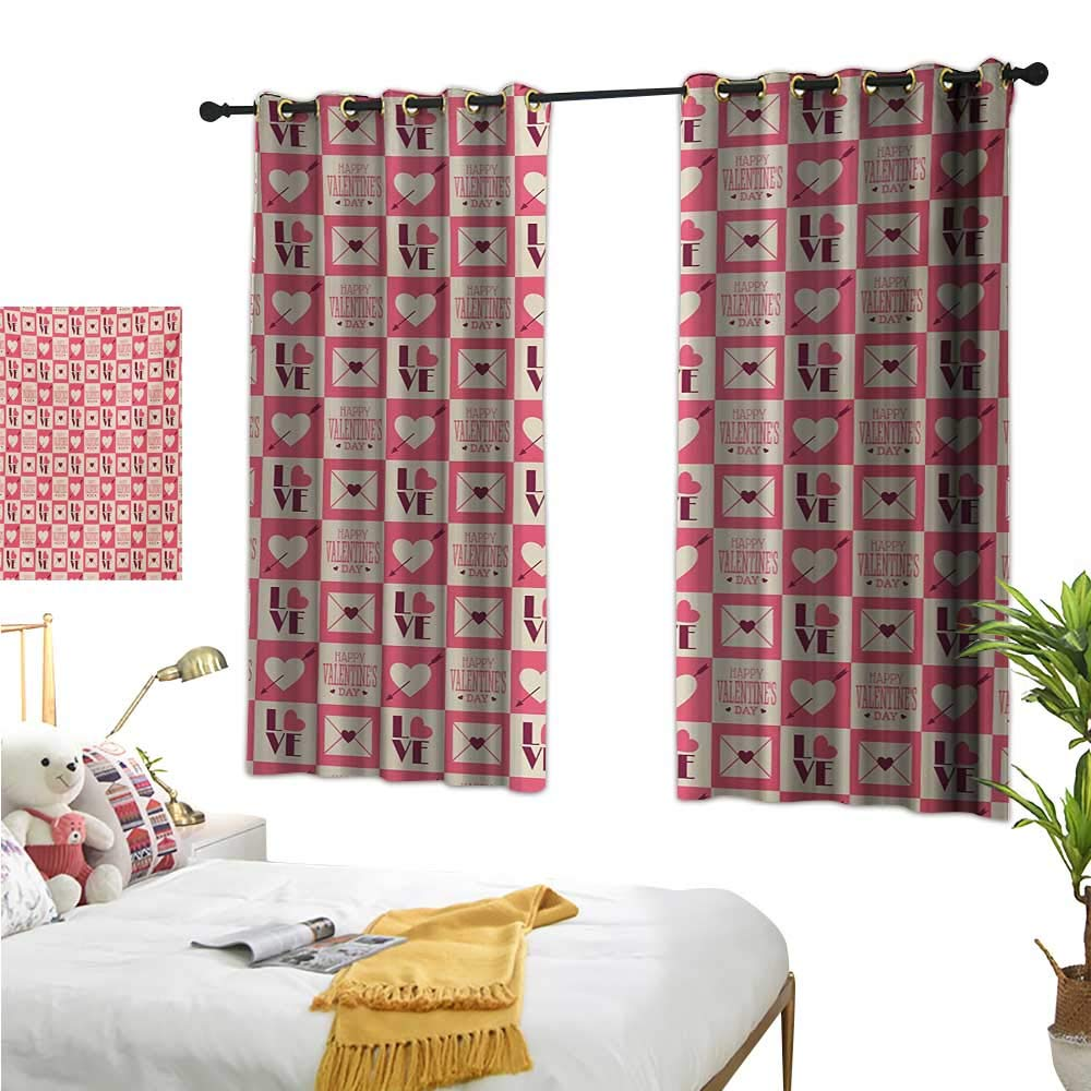 Luckyee Customized Curtains,Valentines,72'' x 45'',Vintage Style Checkered Pattern with Bicolor Squares Letters Envelopes Hearts,Suitable for Bedroom Living Room Study, etc.