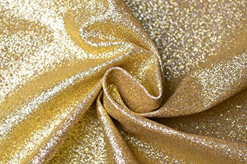 (WENTO Shiny Champagne Gold Glitter Fabric for Patchwork DIY Craft,Glitter Fabric for Wallets Purses Making,Cell Phone Covers,Jewelry Making,54'' Wide,sold By Half Yard (21 Champagne Gold))