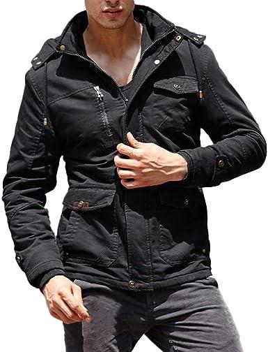 Fashionhe Mens Cotton Jacket Autumn Winter Warm Casual Pocket Button Slim Overcoat Plus Size Coat