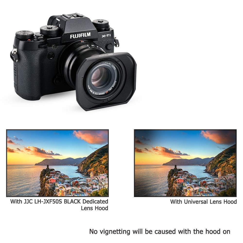 Bayonet Square Metal Lens Hood Shade w// Hood Cap Protector for Fujifilm Fujinon XF 50mm F2 R WR Lens on Camera X-T30 X-T20 X-T10 X-T4 X-T3 X-T2 X-T1 X-Pro3 X-Pro2 X-Pro1 X-H1 X-E3 X-T200 X-T100 Black