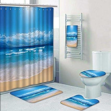 5 Piece Bathroom Rug Sets.Amazon Com 5 Piece Bath Rug Set Summer Beach Blue Sea And