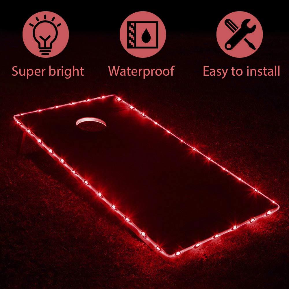 Cornhole Lights Edge Night Lights,Light Up LED Lighting Cornhole Boards Kit, Long Lasting (72+ Hours) Great for Tailgates Backyard/Lawn Wedding BBQ & More-red by TongYu