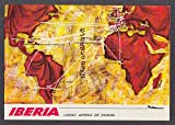 Iberia Airlines route map postcard 1970s