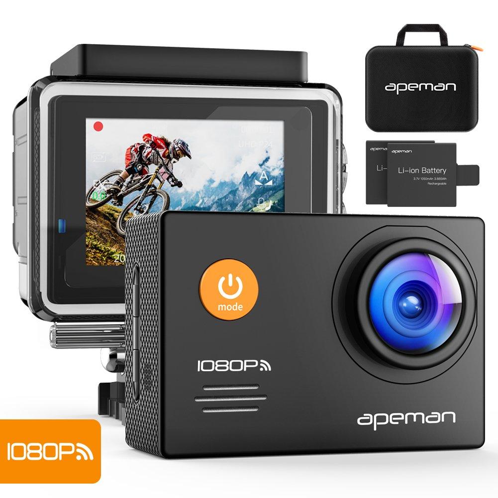 Apeman A70 Action Cam Sport WiFi con Custodia Impermeabile, Full HD 1080P, 14MP, 170° Grandangolare, 2.0 Pollici 2x1050mAh, Batterie e Kit Accessori con Pacchetto Portatile (Nero)
