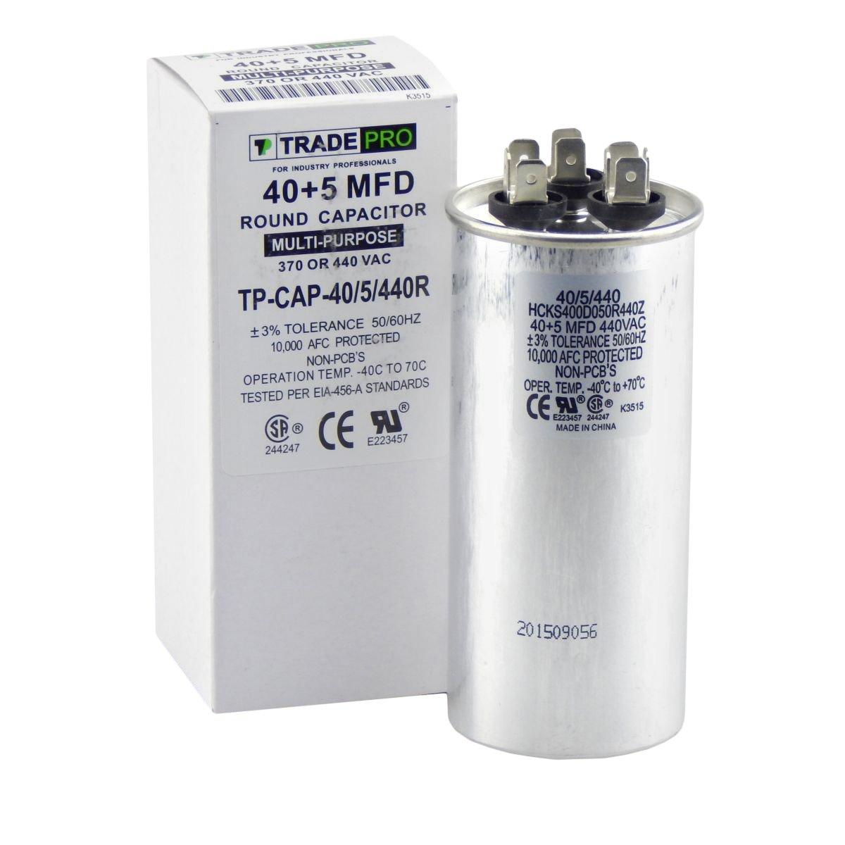 40/5 MFD Multi-Purpose 440 or 370 Volt Round Run Capacitor Replacement TradePro 40+5
